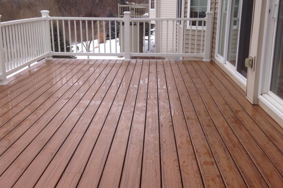 Trex® Tiki Torch Deck with White Trex® Select Railings Lake County