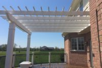 White Pergola with Curved Trex® Deck & Railings Lake County
