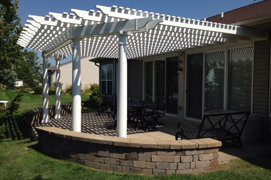 White Vinyl Patio Pergola Huntley