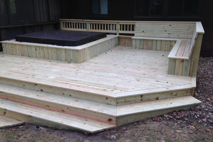 Photo galleries wood decks rock solid builders inc for Balcony platform