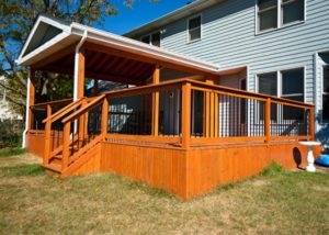 Wood Deck and Pavillion with Solid Deck Board Skirting McHenry County