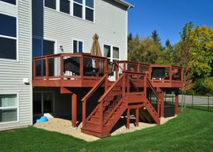 Wood Deck with Custom Stairs Lindenhurst