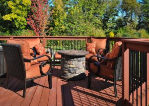 Wood Deck with Gas Fire Pit Lake Lindenhurst