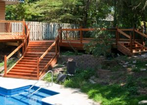 Wood Deck with Two Sets of Stairs Janesville