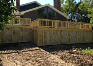 Wood Deck with Under Deck Storage and Lattice McHenry