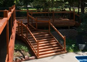 Wood Deck with Wide Stairs Janesville