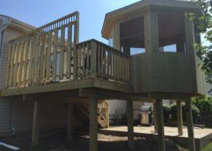 Wood Gazebo and Deck with Privacy Wall McHenry