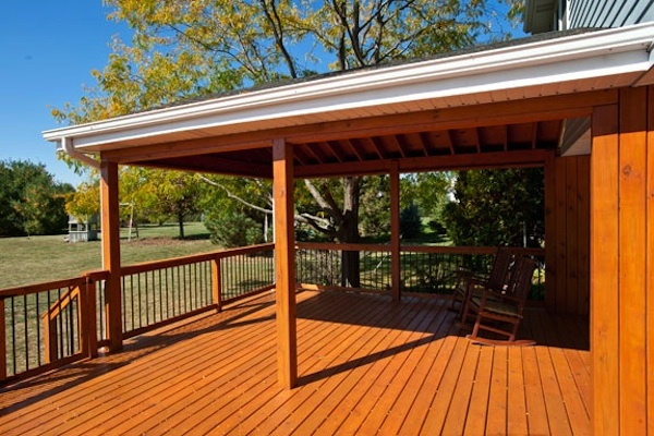 Wood Pavillion Attached to House Spring Grove