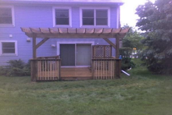 Wood Pergola and Deck Cary