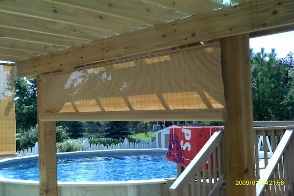 Wood Pergola with Shades McHenry County
